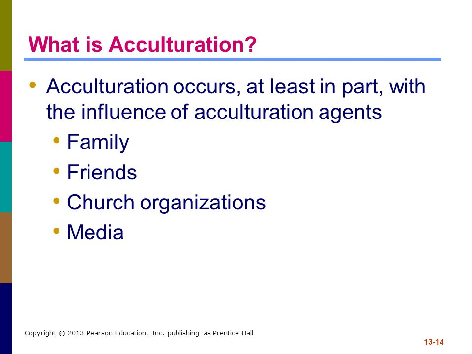 13-14 Copyright © 2013 Pearson Education, Inc.publishing as Prentice Hall What is Acculturation.
