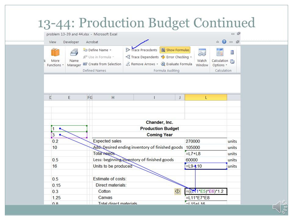 Pr. 13-44: Production Budget CHANDER, INC. Bag production cost data: Direct materials per bag: Chander, Inc. Yards of cotton 1.000 Production Budget C