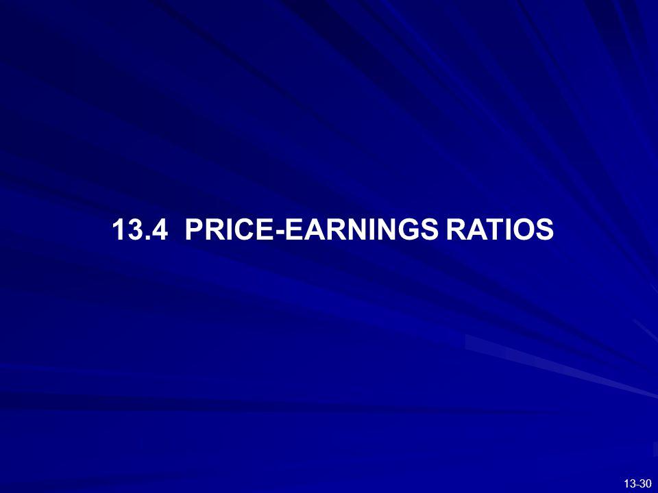 13-30 13.4 PRICE-EARNINGS RATIOS