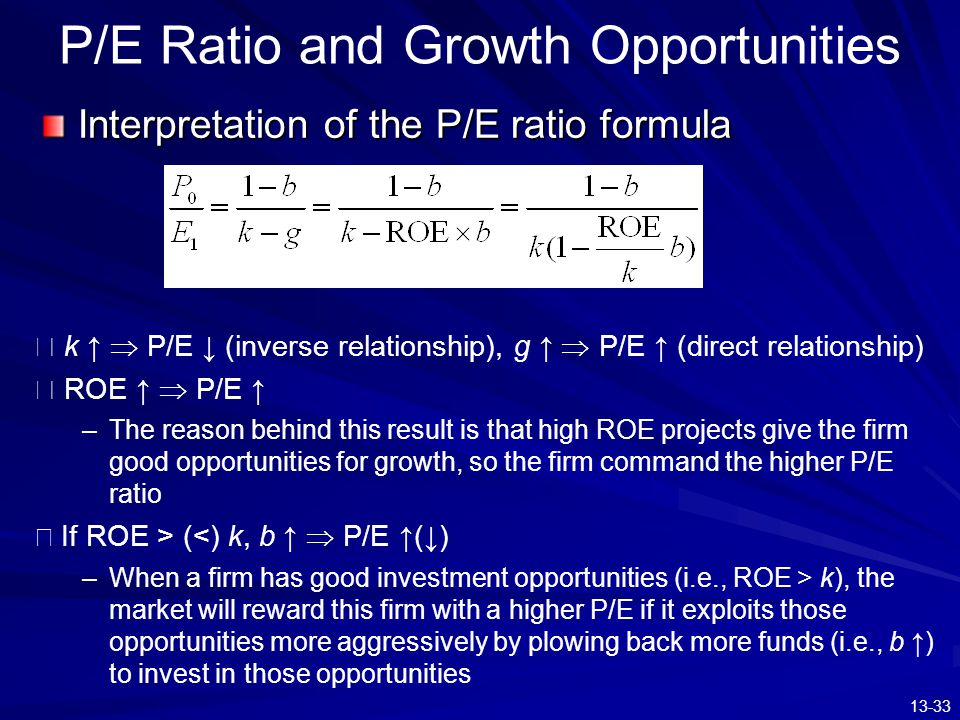 13-33 P/E Ratio and Growth Opportunities ※ k ↑  P/E ↓ (inverse relationship), g ↑  P/E ↑ (direct relationship) ※ ROE ↑  P/E ↑ –The reason behind th
