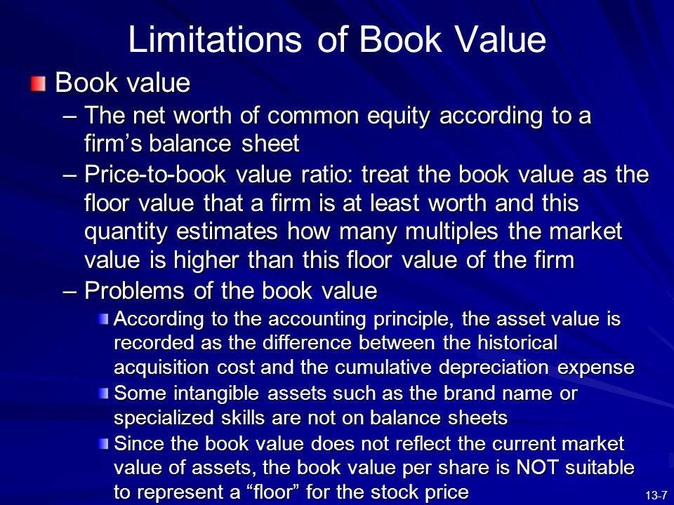 13-18 Constant Growth Model: Example ※ The above example shows that for firms with higher beta and thus higher degree of the systematic risk, they are with lower intrinsic values