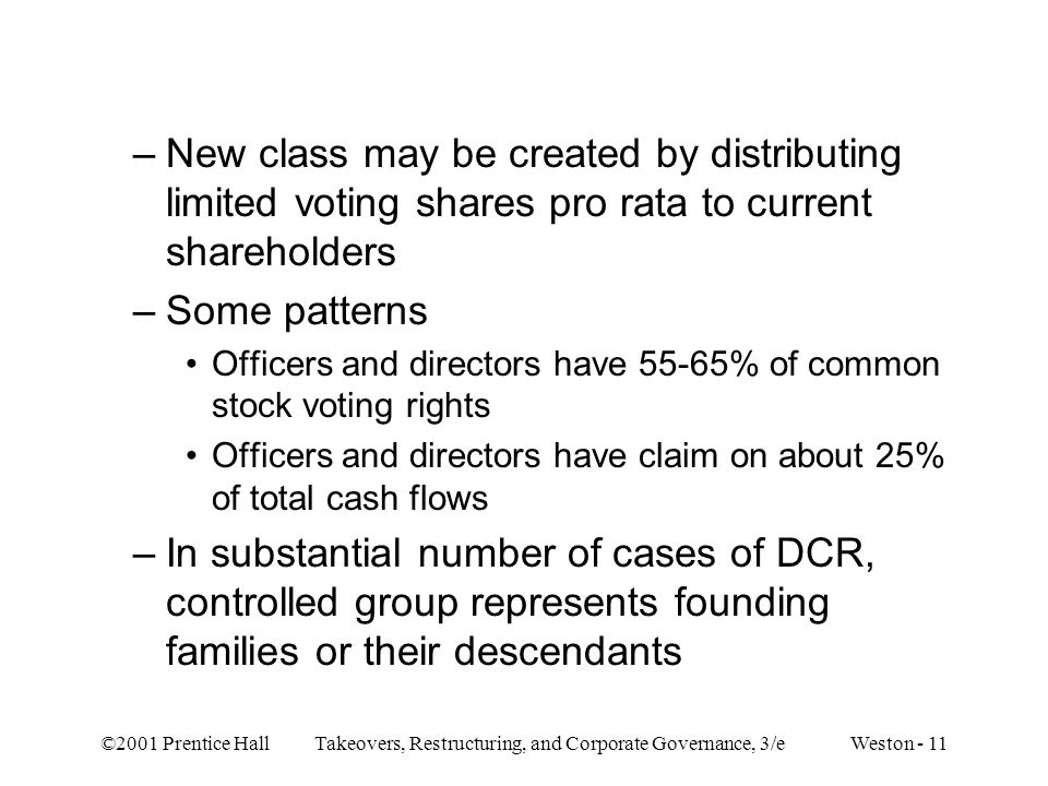 ©2001 Prentice Hall Takeovers, Restructuring, and Corporate Governance, 3/e Weston - 11 –New class may be created by distributing limited voting share
