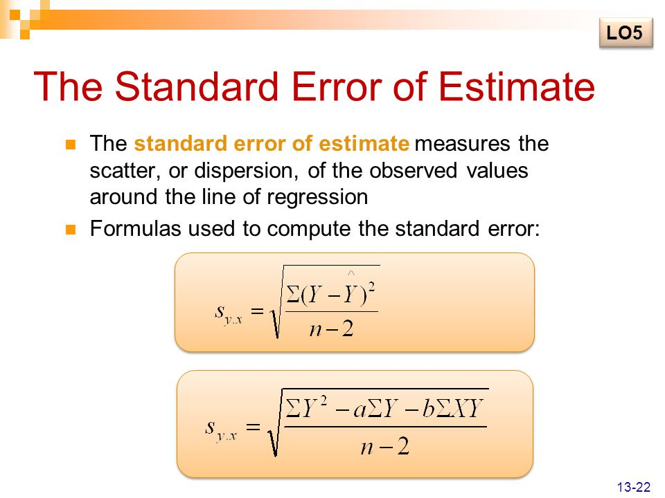 The Standard Error of Estimate The standard error of estimate measures the scatter, or dispersion, of the observed values around the line of regressio