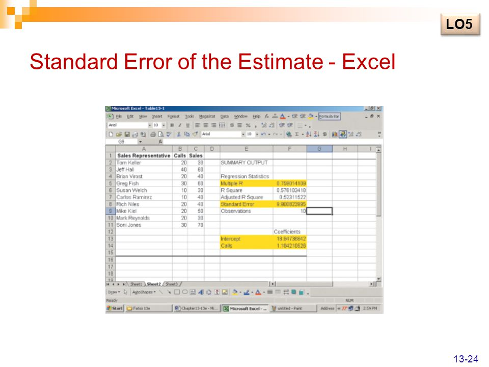 Standard Error of the Estimate - Excel LO5 13-24