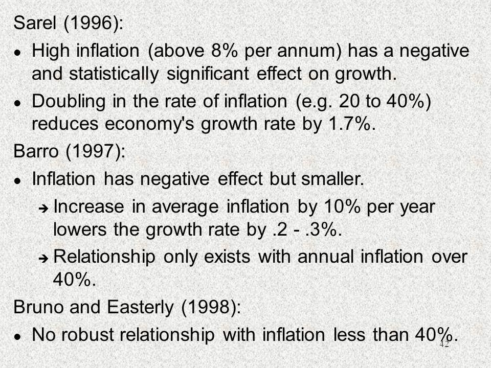 42 Sarel (1996): l High inflation (above 8% per annum) has a negative and statistically significant effect on growth. l Doubling in the rate of inflat