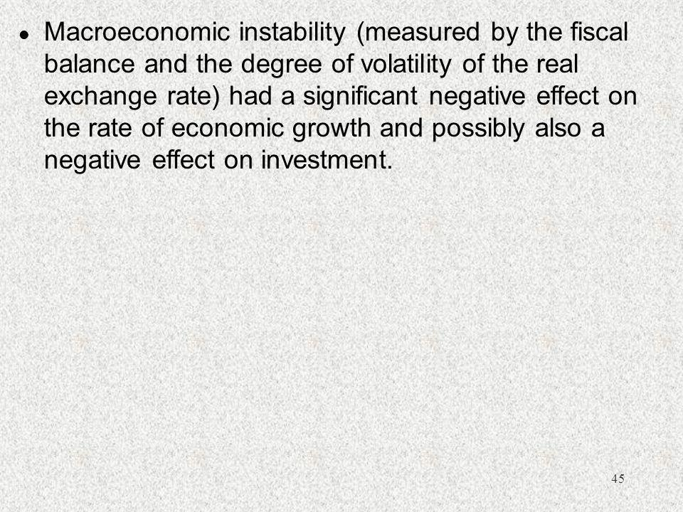 45 l Macroeconomic instability (measured by the fiscal balance and the degree of volatility of the real exchange rate) had a significant negative effe