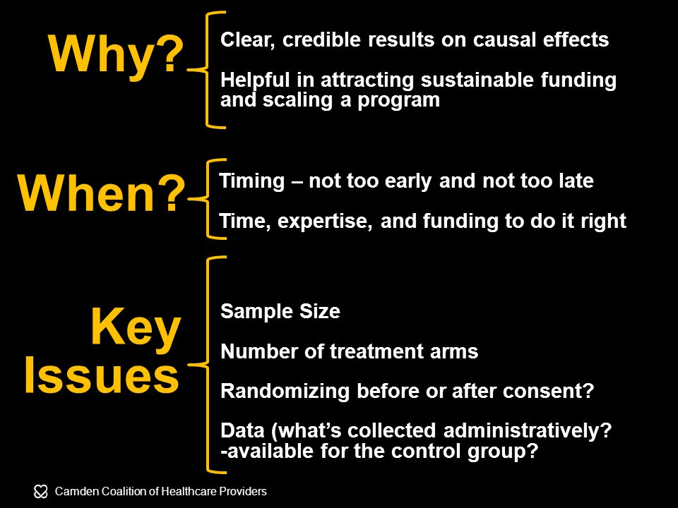 Camden Coalition of Healthcare Providers Key Issues Sample Size Number of treatment arms Randomizing before or after consent.