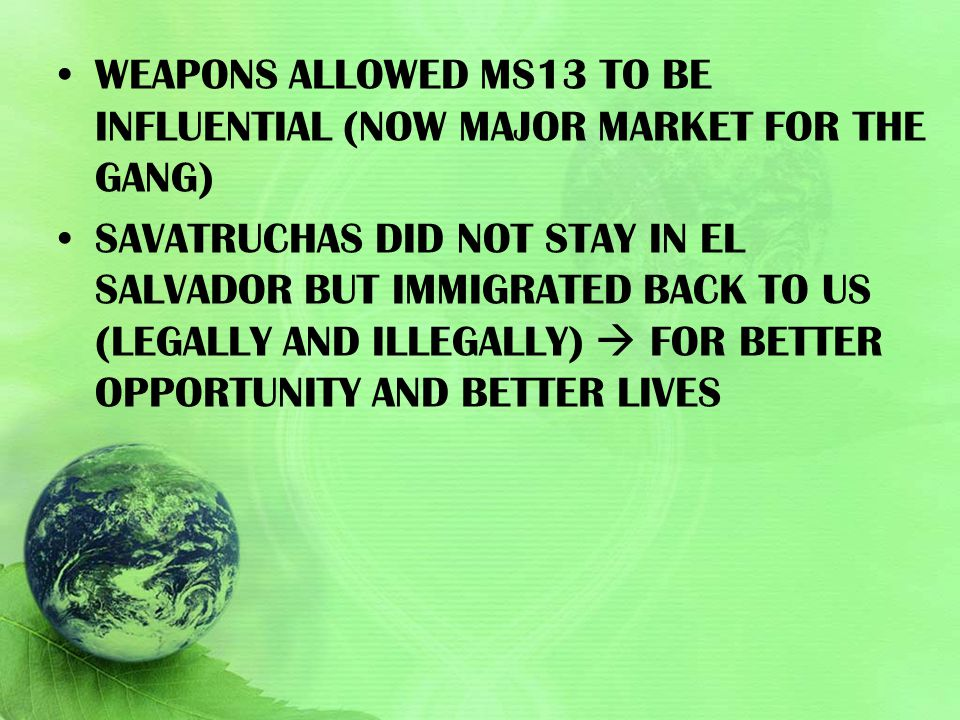 WEAPONS ALLOWED MS13 TO BE INFLUENTIAL (NOW MAJOR MARKET FOR THE GANG) SAVATRUCHAS DID NOT STAY IN EL SALVADOR BUT IMMIGRATED BACK TO US (LEGALLY AND