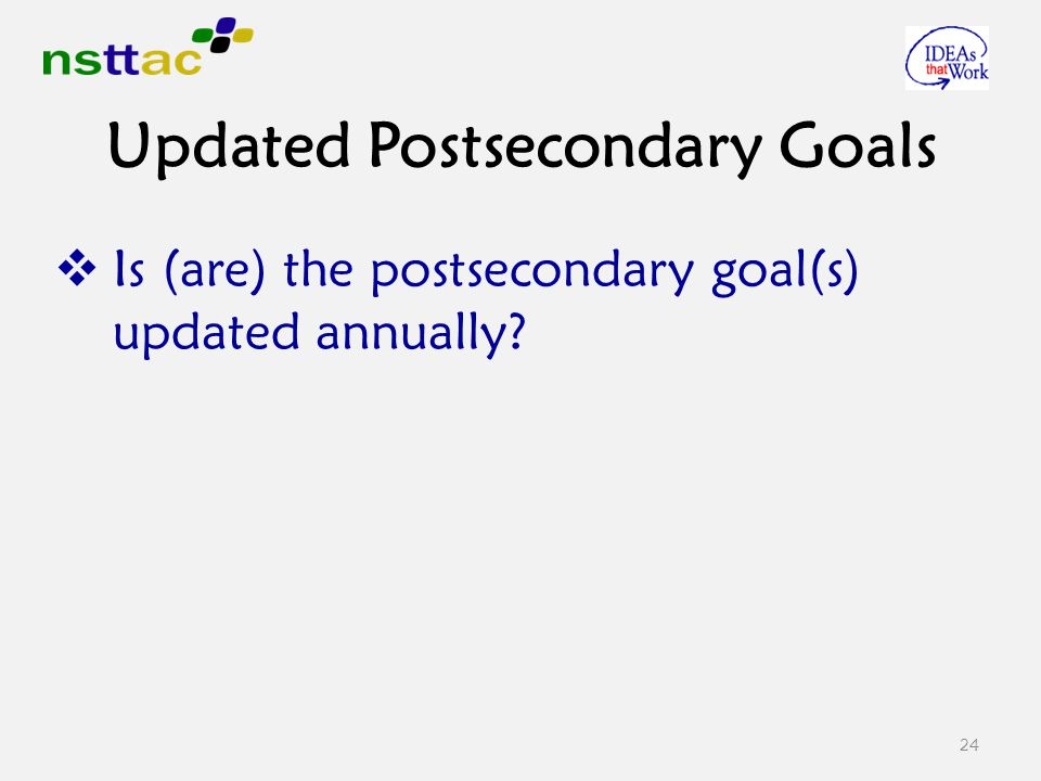  Is (are) the postsecondary goal(s) updated annually 24