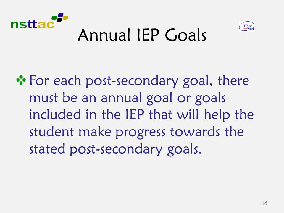 Annual IEP Goals  For each post-secondary goal, there must be an annual goal or goals included in the IEP that will help the student make progress towards the stated post-secondary goals.