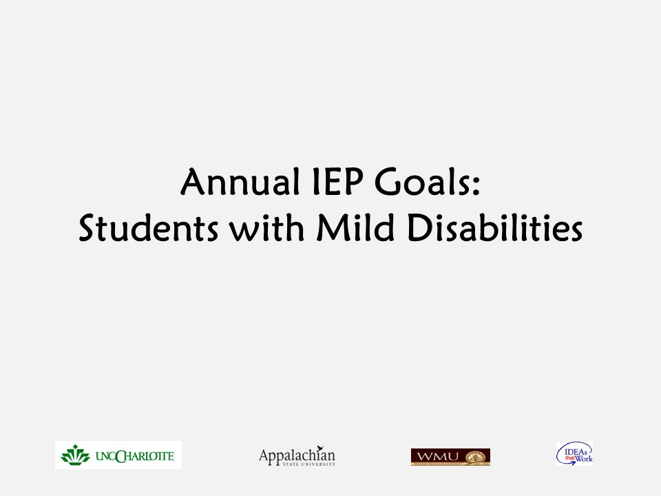 Annual IEP Goals: Students with Mild Disabilities