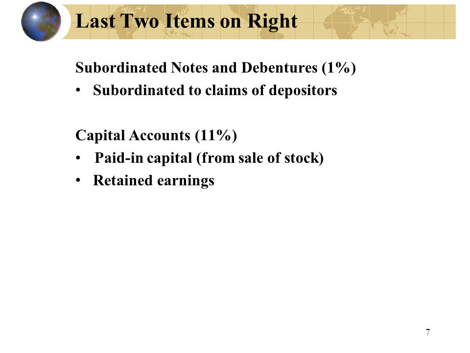 8 Capital Adequacy Capital adequacy ratio: Numerator is subordinated notes & bonds + capital stock + retained earnings Denominator is a weighted average of assets Riskfree, weight of 0 Very risky assets like CDOs, weight of 1 Everything else, weight in between