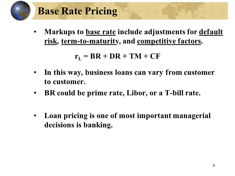 9 Base Rate Pricing Markups to base rate include adjustments for default risk, term-to-maturity, and competitive factors.