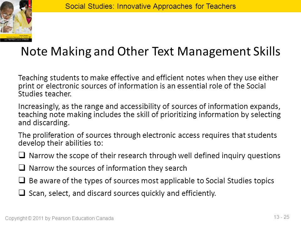 Note Making and Other Text Management Skills Teaching students to make effective and efficient notes when they use either print or electronic sources