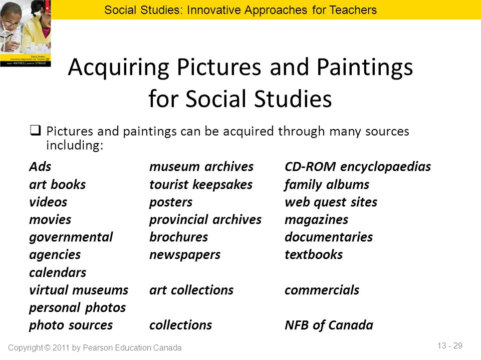 Acquiring Pictures and Paintings for Social Studies  Pictures and paintings can be acquired through many sources including: Adsmuseum archivesCD-ROM