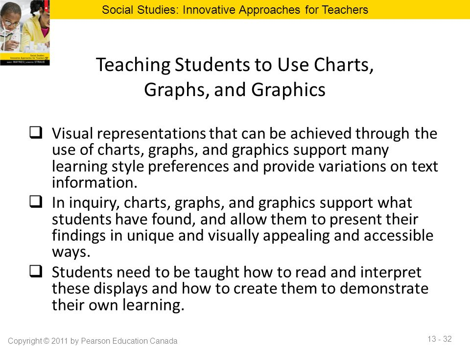 Teaching Students to Use Charts, Graphs, and Graphics  Visual representations that can be achieved through the use of charts, graphs, and graphics su