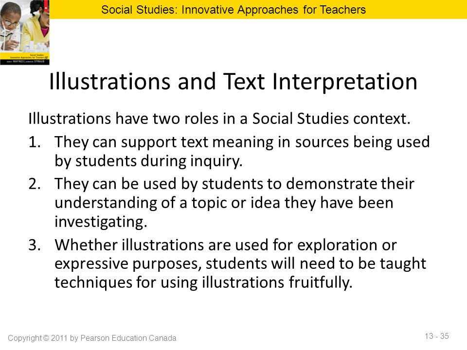 Illustrations and Text Interpretation Illustrations have two roles in a Social Studies context. 1.They can support text meaning in sources being used