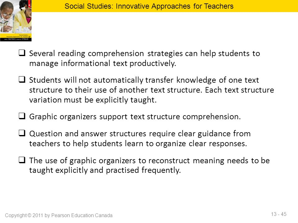  Several reading comprehension strategies can help students to manage informational text productively.  Students will not automatically transfer kno