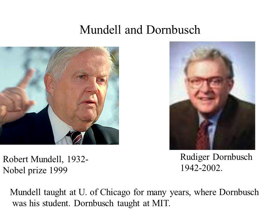 Mundell and Dornbusch Robert Mundell, 1932- Nobel prize 1999 Rudiger Dornbusch 1942-2002.