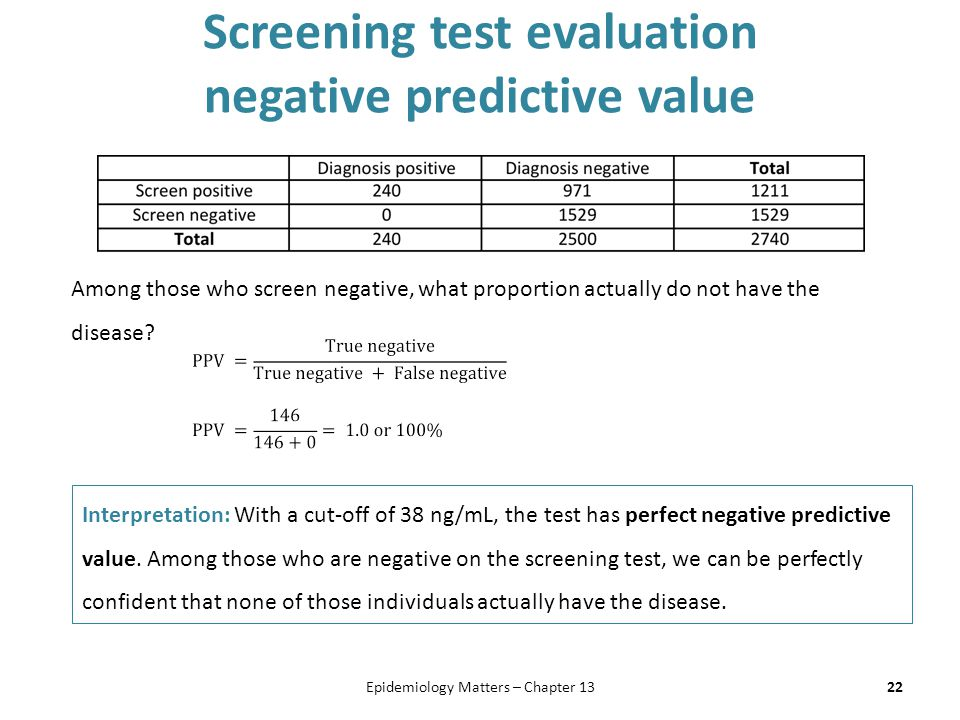 Screening test evaluation negative predictive value 22Epidemiology Matters – Chapter 13 Among those who screen negative, what proportion actually do n