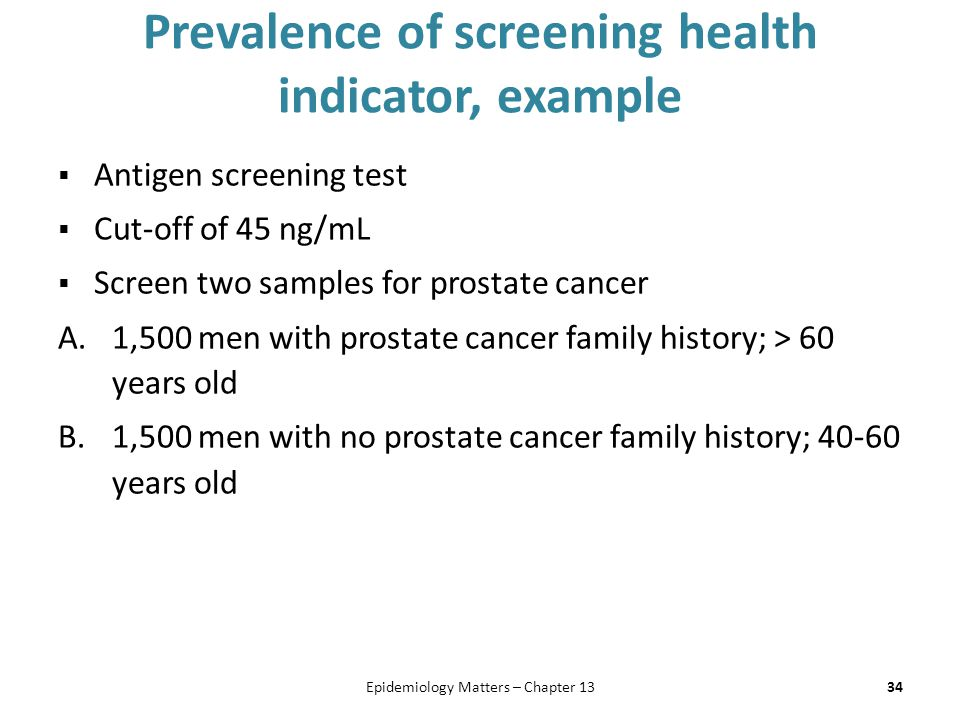 Prevalence of screening health indicator, example  Antigen screening test  Cut-off of 45 ng/mL  Screen two samples for prostate cancer A.1,500 men