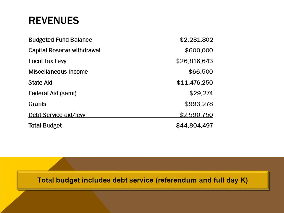 REVENUES Budgeted Fund Balance $2,231,802 Capital Reserve withdrawal $600,000 Local Tax Levy$26,816,643 Miscellaneous Income $66,500 State Aid$11,476,