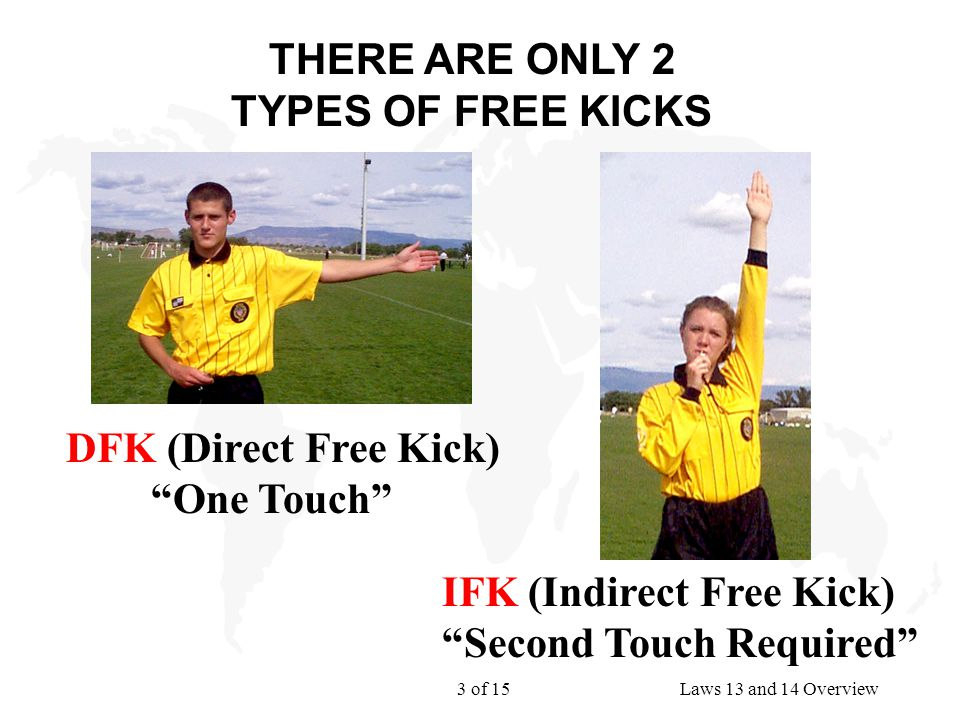 3 of 15Laws 13 and 14 Overview THERE ARE ONLY 2 TYPES OF FREE KICKS IFK (Indirect Free Kick) Second Touch Required DFK (Direct Free Kick) One Touch