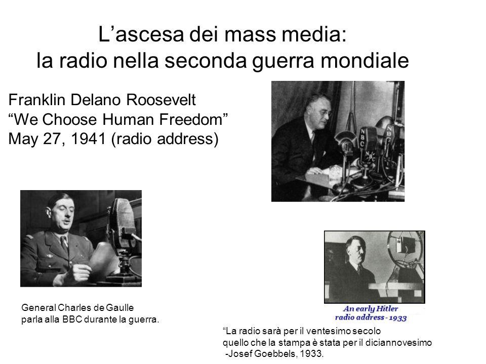 L'ascesa dei mass media: la radio nella seconda guerra mondiale Franklin Delano Roosevelt We Choose Human Freedom May 27, 1941 (radio address) General Charles de Gaulle parla alla BBC durante la guerra.