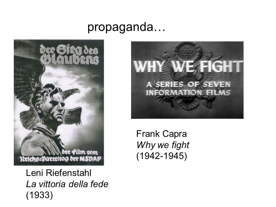 propaganda… Leni Riefenstahl La vittoria della fede (1933) Frank Capra Why we fight (1942-1945)
