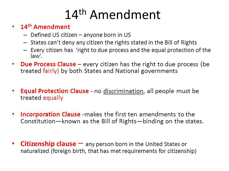 14 th Amendment Plessy v.
