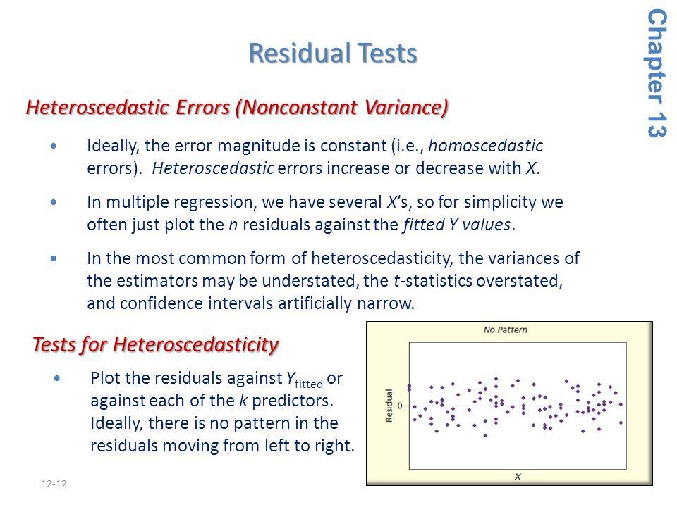 12-12 Heteroscedastic Errors (Nonconstant Variance) Heteroscedastic Errors (Nonconstant Variance) Ideally, the error magnitude is constant (i.e., homoscedastic errors).