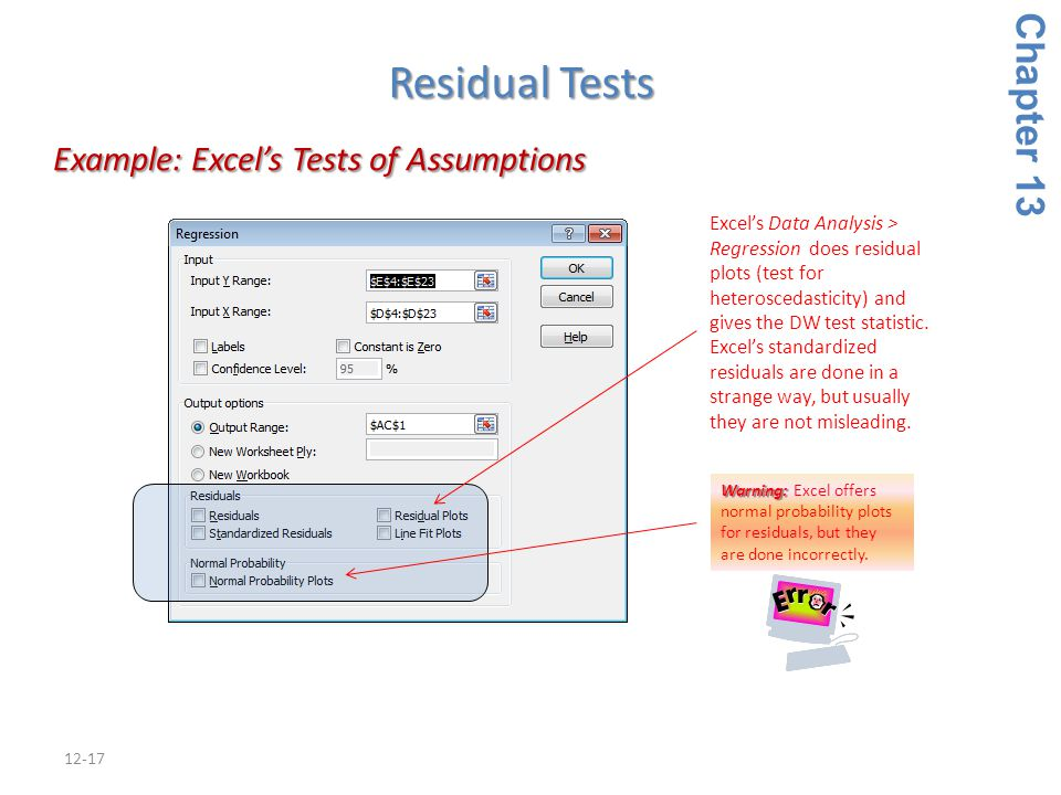 12-17 Example: Excel's Tests of Assumptions Example: Excel's Tests of Assumptions Chapter 13 Residual Tests Warning: Warning: Excel offers normal prob