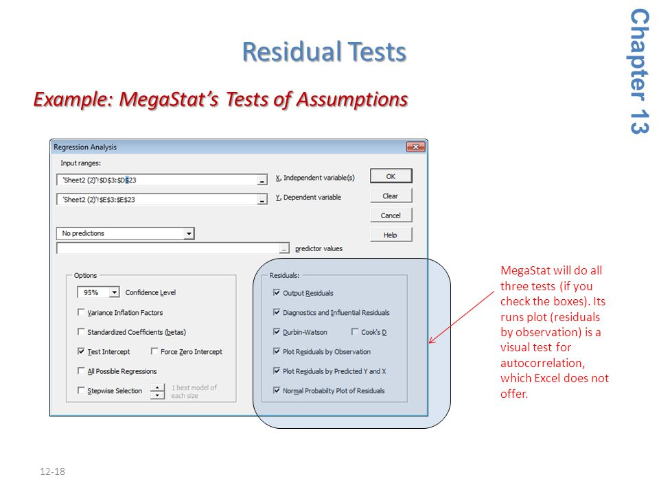 12-18 Example: MegaStat's Tests of Assumptions Example: MegaStat's Tests of Assumptions Chapter 13 Residual Tests MegaStat will do all three tests (if you check the boxes).