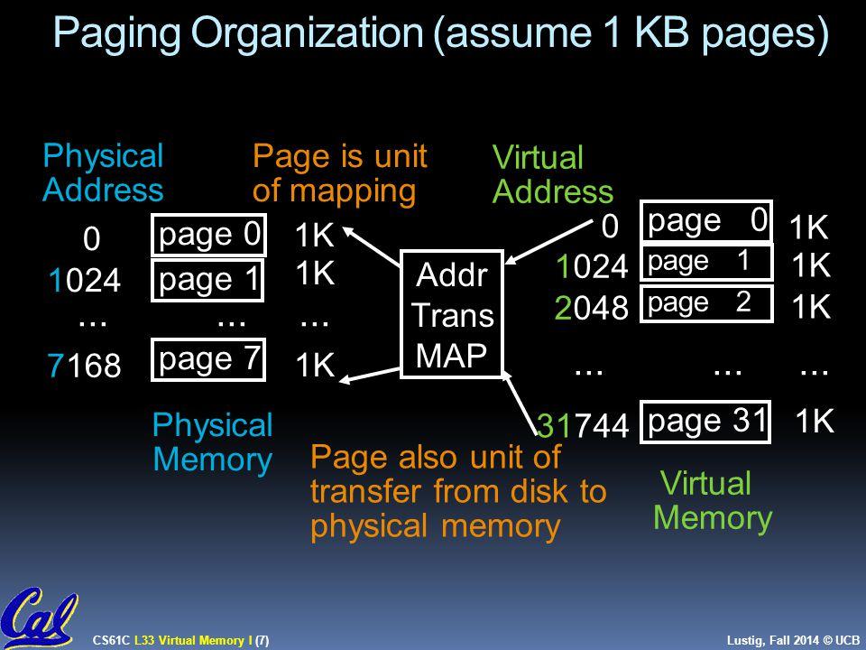 CS61C L33 Virtual Memory I (8) Lustig, Fall 2014 © UCB Virtual Memory Mapping Function  How large is main memory.