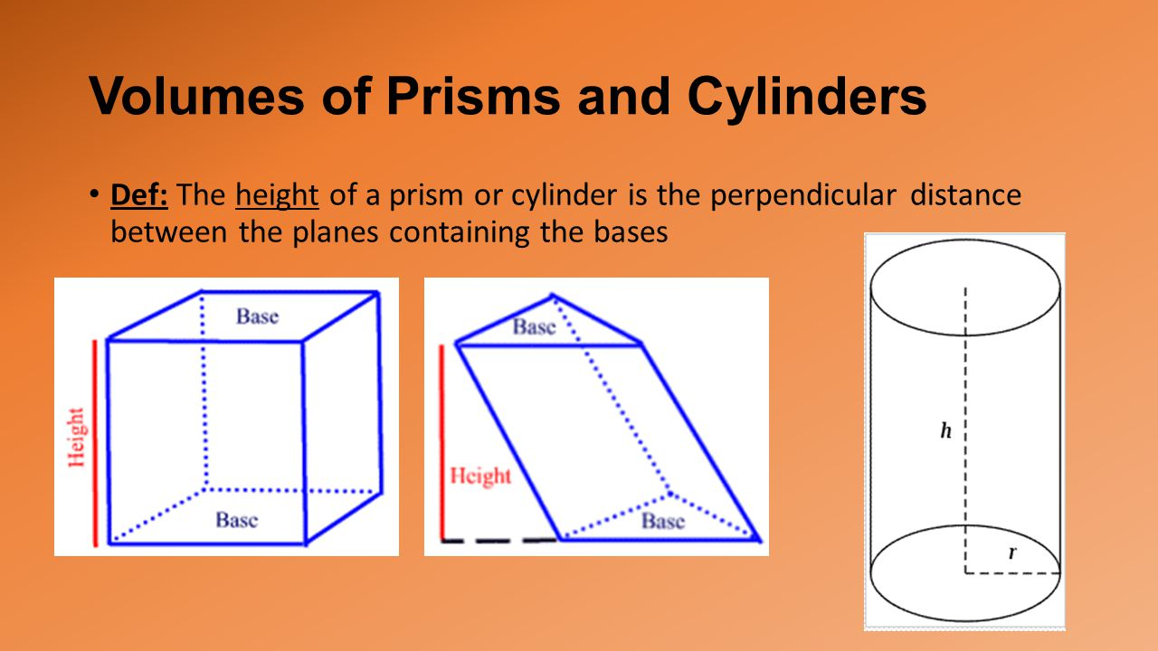 Volumes of Prisms and Cylinders Def: The height of a prism or cylinder is the perpendicular distance between the planes containing the bases