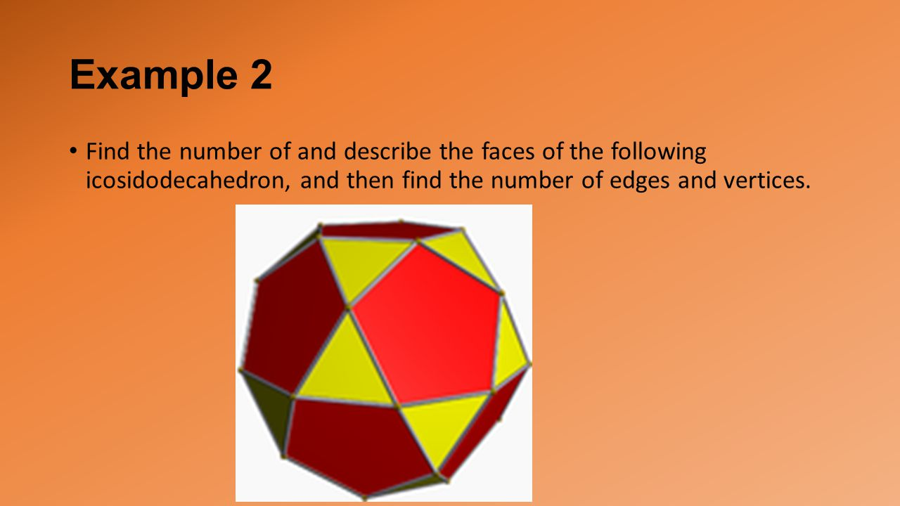 Example 2 Find the number of and describe the faces of the following icosidodecahedron, and then find the number of edges and vertices.