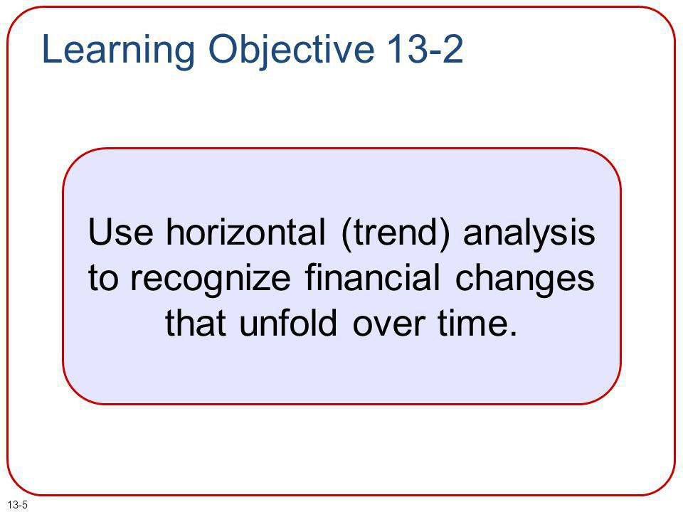 13-6 Horizontal (Trend) Computations Trend analyses are usually calculated in terms of year-to-year dollar and percentage changes.