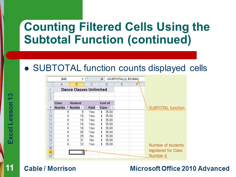 Excel Lesson 13 Cable / MorrisonMicrosoft Office 2010 Advanced Counting Filtered Cells Using the Subtotal Function (continued) SUBTOTAL function count
