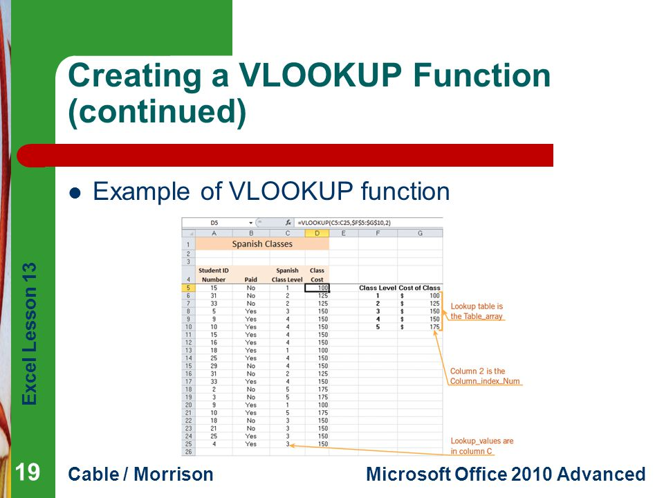 Excel Lesson 13 Cable / MorrisonMicrosoft Office 2010 Advanced Creating a VLOOKUP Function (continued) Example of VLOOKUP function 19