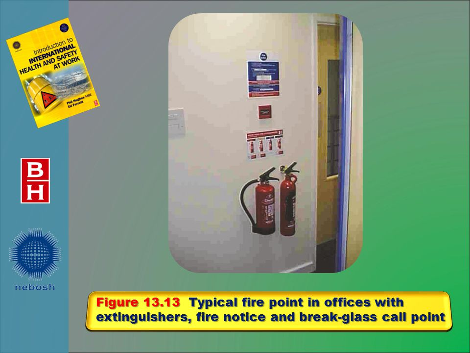 Figure 13.13 Typical fire point in offices with extinguishers, fire notice and break-glass call point