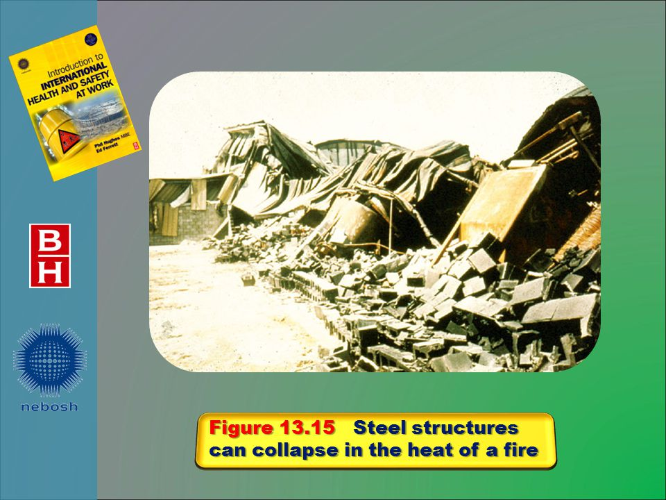 Figure 13.15 Steel structures can collapse in the heat of a fire
