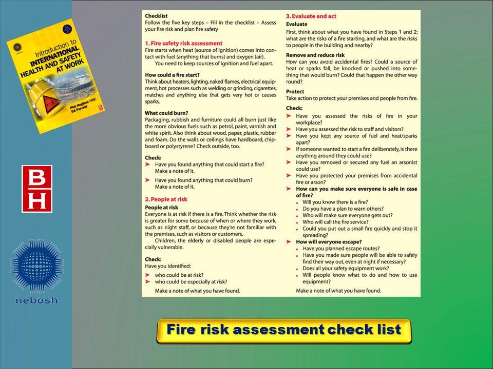 Fire risk assessment check list