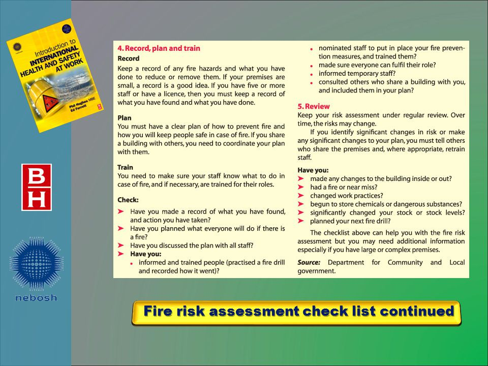 Fire risk assessment check list continued Fire risk assessment check list continued