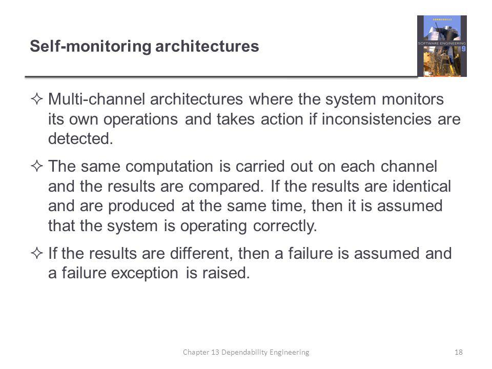 Self-monitoring architectures  Multi-channel architectures where the system monitors its own operations and takes action if inconsistencies are detected.