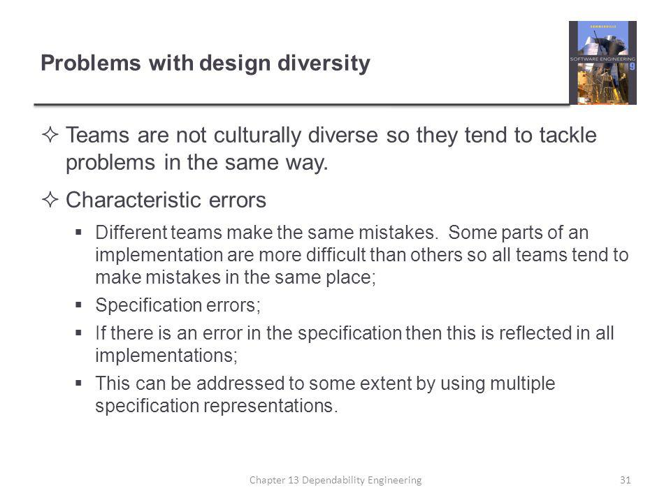 Problems with design diversity  Teams are not culturally diverse so they tend to tackle problems in the same way.
