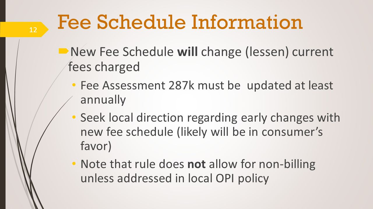 Fee Schedule Information  New Fee Schedule will change (lessen) current fees charged Fee Assessment 287k must be updated at least annually Seek local