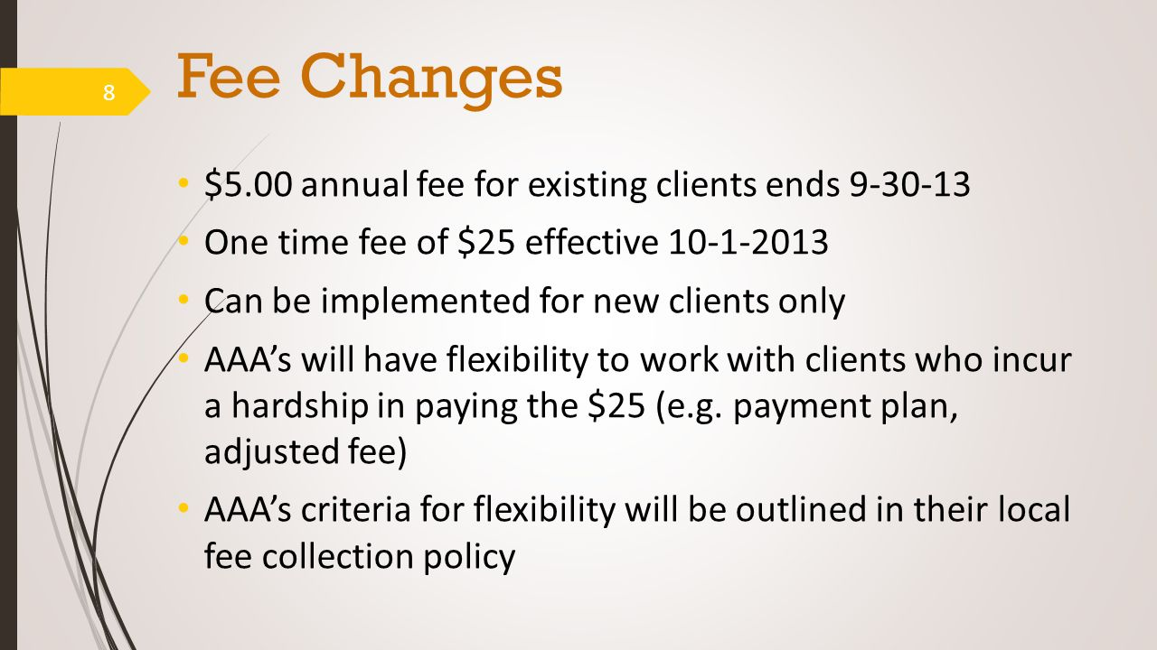 Fee Changes $5.00 annual fee for existing clients ends 9-30-13 One time fee of $25 effective 10-1-2013 Can be implemented for new clients only AAA's will have flexibility to work with clients who incur a hardship in paying the $25 (e.g.