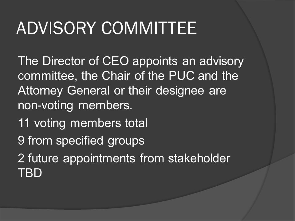 ADVISORY COMMITTEE The Director of CEO appoints an advisory committee, the Chair of the PUC and the Attorney General or their designee are non-voting members.