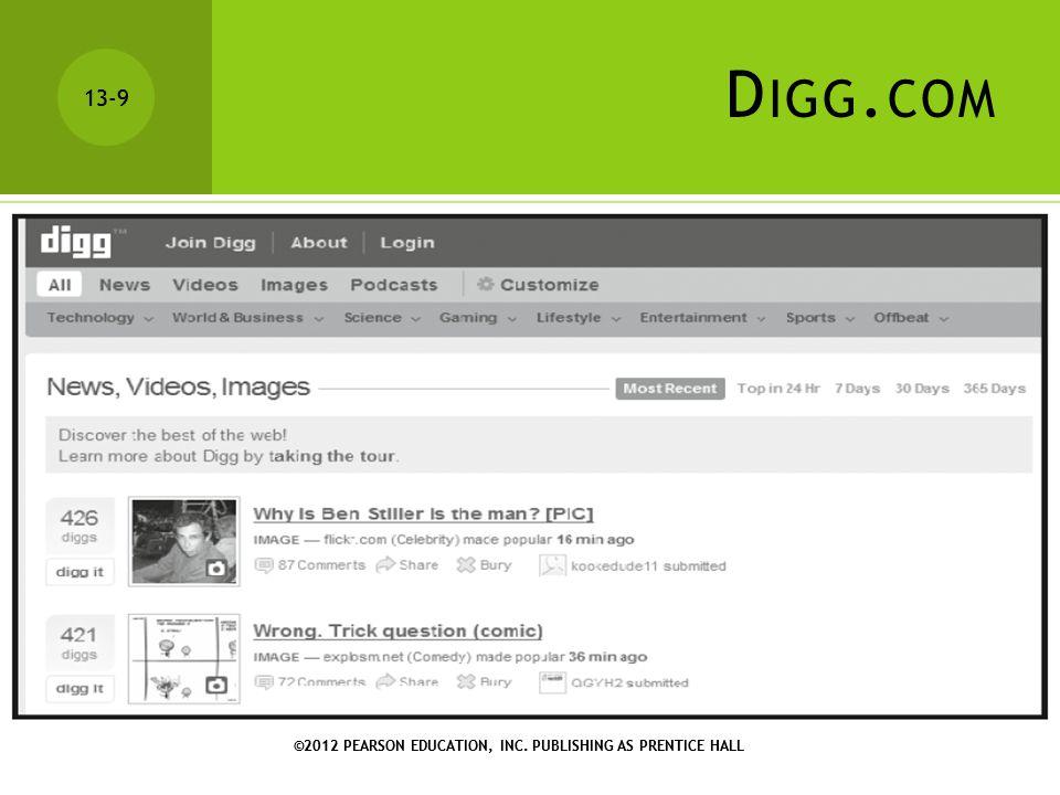 ©2012 PEARSON EDUCATION, INC.PUBLISHING AS PRENTICE HALL 13-10 ©2012 PEARSON EDUCATION, INC.