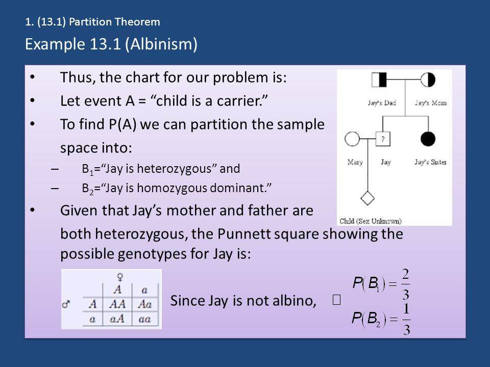 Example 13.1 (Albinism) Thus, the chart for our problem is: Let event A = child is a carrier. To find P(A) we can partition the sample space into: – B 1 = Jay is heterozygous and – B 2 = Jay is homozygous dominant. Given that Jay's mother and father are both heterozygous, the Punnett square showing the possible genotypes for Jay is: Since Jay is not albino, Thus, the chart for our problem is: Let event A = child is a carrier. To find P(A) we can partition the sample space into: – B 1 = Jay is heterozygous and – B 2 = Jay is homozygous dominant. Given that Jay's mother and father are both heterozygous, the Punnett square showing the possible genotypes for Jay is: Since Jay is not albino, 1.